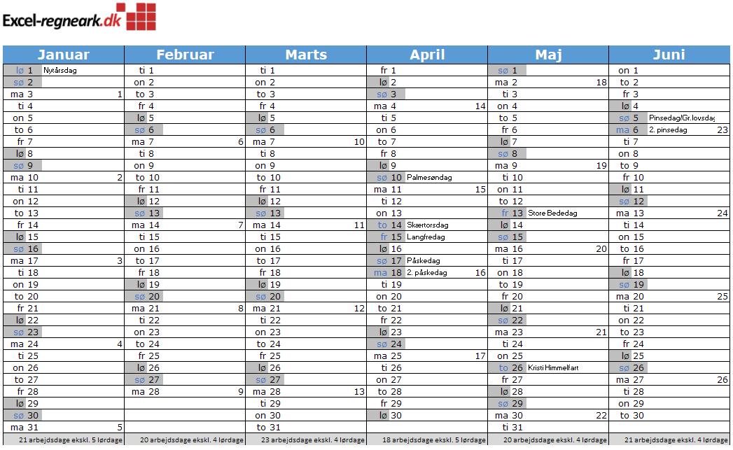 Kalender til Excel med helligdage, klar til print